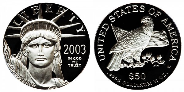 2003 W Proof Half Ounce American Platinum Eagle - 1/2 oz Platinum $50