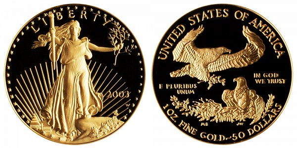 2003 W Proof One Ounce American Gold Eagle - 1 oz Gold $50