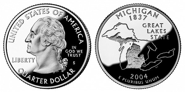 2004 S Silver Proof Michigan State Quarter
