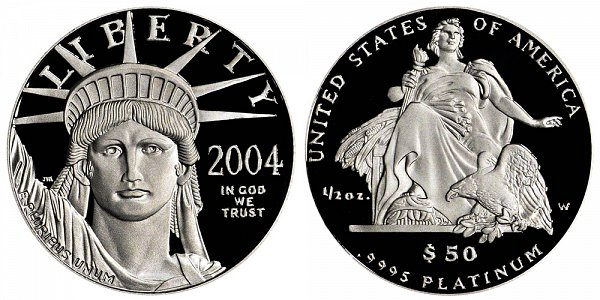 2004 W Proof Half Ounce American Platinum Eagle - 1/2 oz Platinum $50