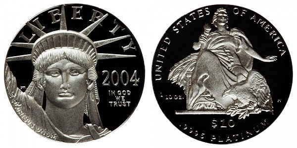 2004 W Proof Tenth Ounce American Platinum Eagle - 1/10 oz Platinum $10