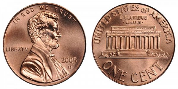 2005 D Lincoln Memorial Cent Penny
