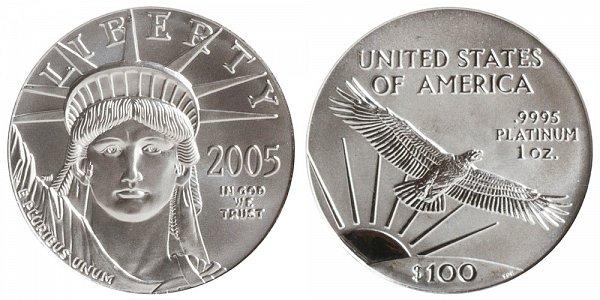 2005 One Ounce American Platinum Eagle - 1 oz Platinum $100