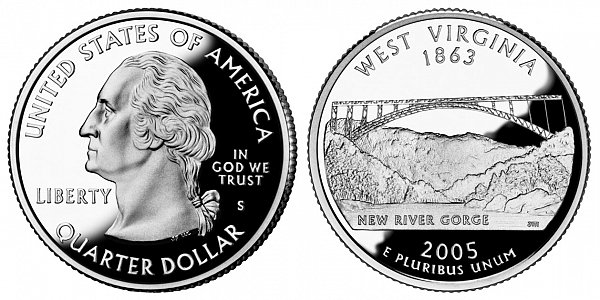 2005 S Silver Proof West Virginia State Quarter
