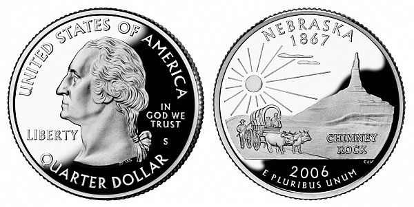 2006 S Silver Proof Nebraska State Quarter