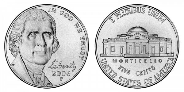 2006 P Jefferson Nickel