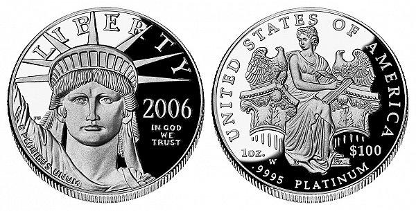 2006 W Proof One Ounce American Platinum Eagle - 1 oz Platinum $100