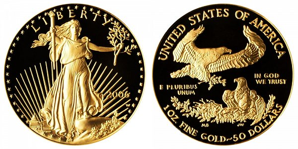 2006 W Proof One Ounce American Gold Eagle - 1 oz Gold $50