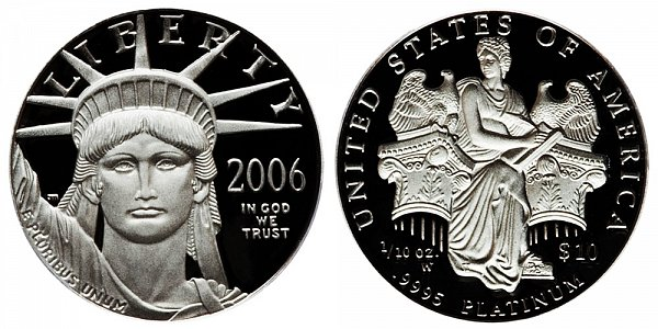 2006 W Proof Tenth Ounce American Platinum Eagle - 1/10 oz Platinum $10