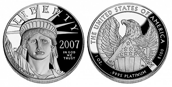 2007 W Proof Frosted FREEDOM One Ounce American Platinum Eagle - 1 oz Platinum $100