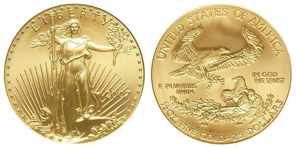 2007 Half Ounce American Gold Eagle - 1/2 oz Gold $25