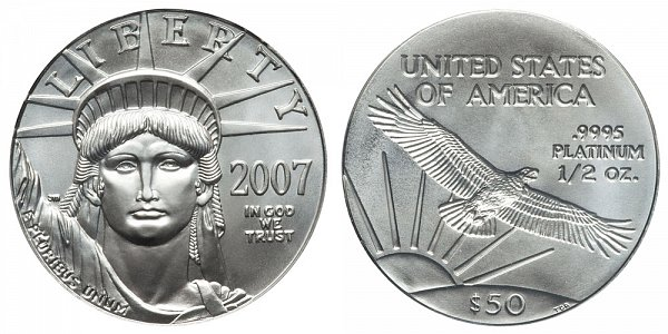 2007 Half Ounce American Platinum Eagle - 1/2 oz Platinum $50