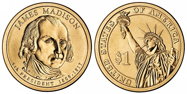 2007 D James Madison Presidential Dollar Coin