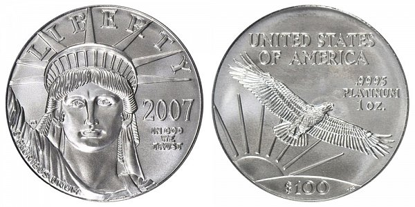 2007 One Ounce American Platinum Eagle - 1 oz Platinum $100