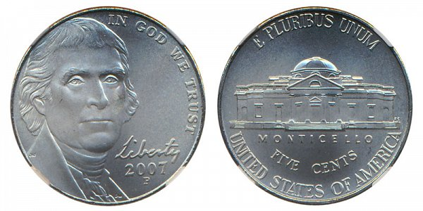 2007 P Jefferson Nickel