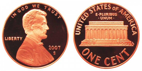 2007 S Lincoln Memorial Cent Penny Proof