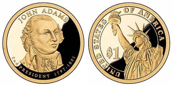 2007 S Proof John Adams Presidential Dollar Coin