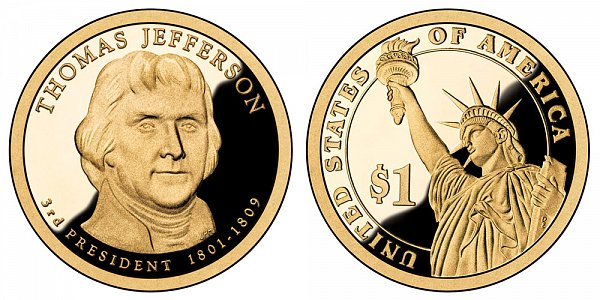 2007 S Proof Thomas Jefferson Presidential Dollar Coin