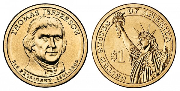 2007 D Thomas Jefferson Presidential Dollar Coin