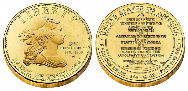 2007 Thomas Jeffersons Liberty First Spouse Gold Coin
