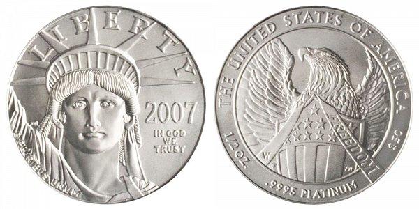 2007 W Burnished Uncirculated Half Ounce American Platinum Eagle - 1/2 oz Platinum $50