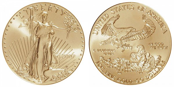 2007 W Burnished Uncirculated One Ounce American Gold Eagle - 1 oz Gold $50