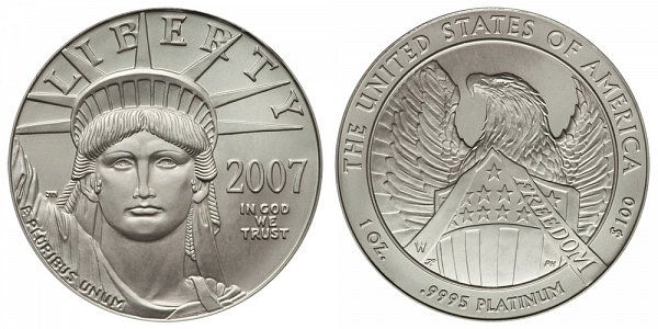 2007 W Burnished Uncirculated One Ounce American Platinum Eagle - 1 oz Platinum $100