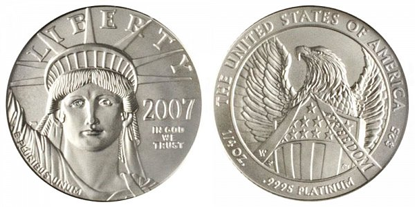 2007 W Burnished Uncirculated Quarter Ounce American Platinum Eagle - 1/4 oz Platinum $25