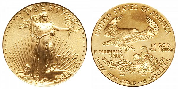 2007 W Burnished Uncirculated Tenth Ounce American Gold Eagle - 1/10 oz Gold $5