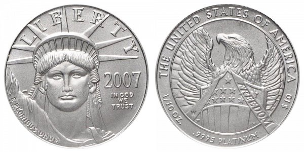 2007 W Burnished Uncirculated Tenth Ounce American Platinum Eagle - 1/10 oz Platinum $10