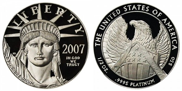 2007 W Proof Frosted FREEDOM Half Ounce American Platinum Eagle - 1/2 oz Platinum $50