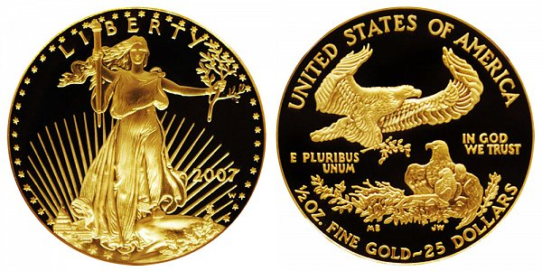 2007 W Proof Half Ounce American Gold Eagle - 1/2 oz Gold $25