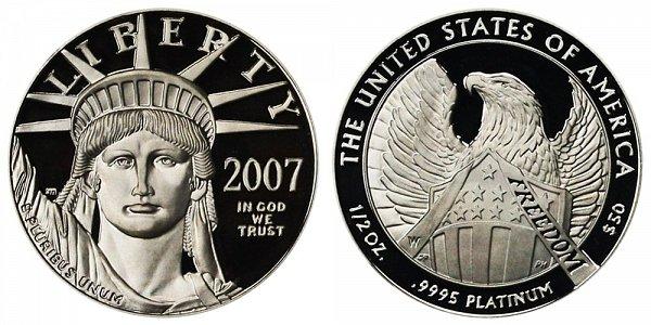 2007 W Proof Half Ounce American Platinum Eagle - 1/2 oz Platinum $50