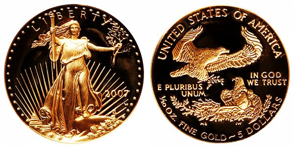 2007 W Proof Tenth Ounce American Gold Eagle - 1/10 oz Gold $5