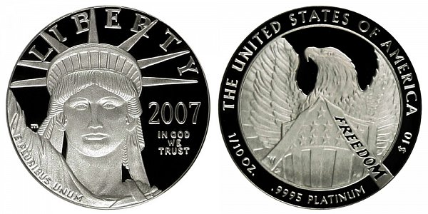 2007 W Proof Tenth Ounce American Platinum Eagle - 1/10 oz Platinum $10