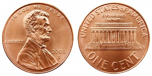 2008 D Lincoln Memorial Cent Penny