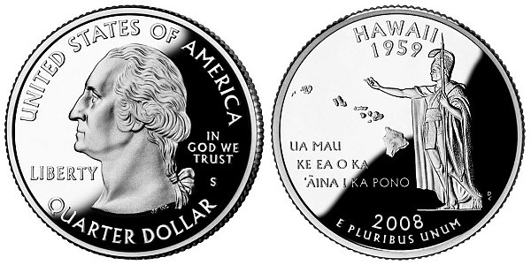2008 S Silver Proof Hawaii State Quarter