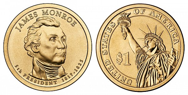 2008 D James Monroe Presidential Dollar Coin