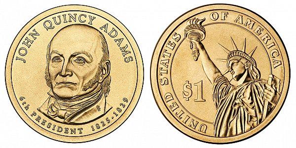 2008 D John Quincy Adams Presidential Dollar Coin