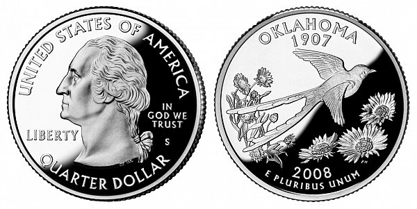 2008 S Proof Oklahoma State Quarter