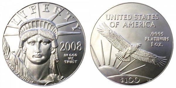 2008 One Ounce American Platinum Eagle - 1 oz Platinum $100