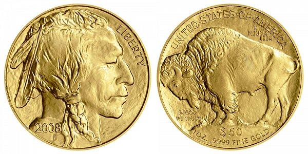 2008 One Ounce Gold American Buffalo - 1 oz Gold $50