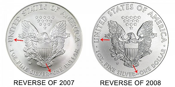 2008-W Reverse of 2007 vs Reverse of 2008 - American Silver Eagle - Difference and Comparison