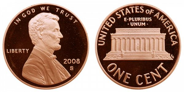 2008 S Lincoln Memorial Cent Penny Proof