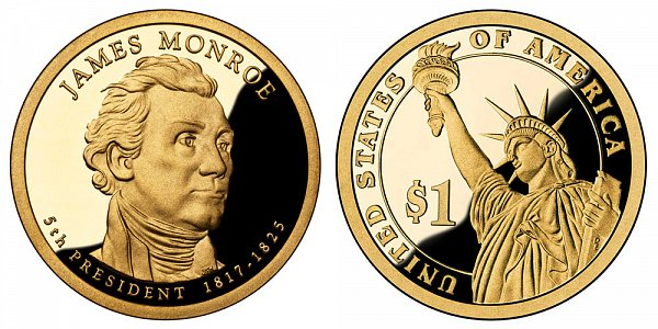 2008 S Proof James Monroe Presidential Dollar Coin