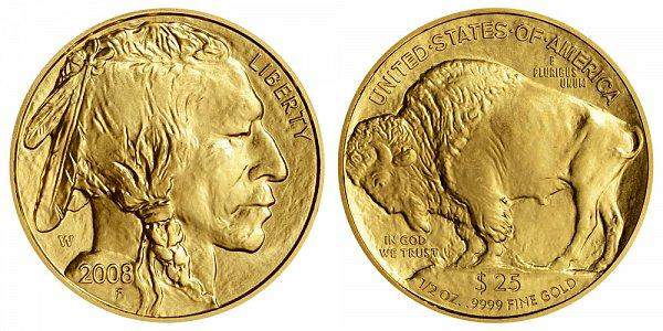 2008 W Burnished Uncirculated Half Ounce Gold American Buffalo - 1/2 oz Gold $25