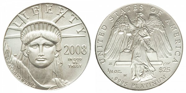 2008 W Burnished Uncirculated Quarter Ounce American Platinum Eagle - 1/4 oz Platinum $25