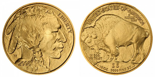 2008 W Burnished Uncirculated Tenth Ounce Gold American Buffalo - 1/10 oz Gold $5