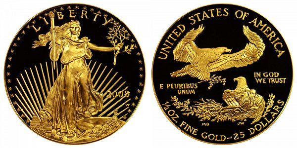 2008 W Proof Half Ounce American Gold Eagle - 1/2 oz Gold $25