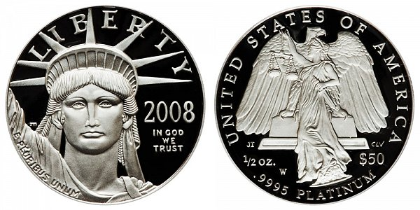 2008 W Proof Half Ounce American Platinum Eagle - 1/2 oz Platinum $50